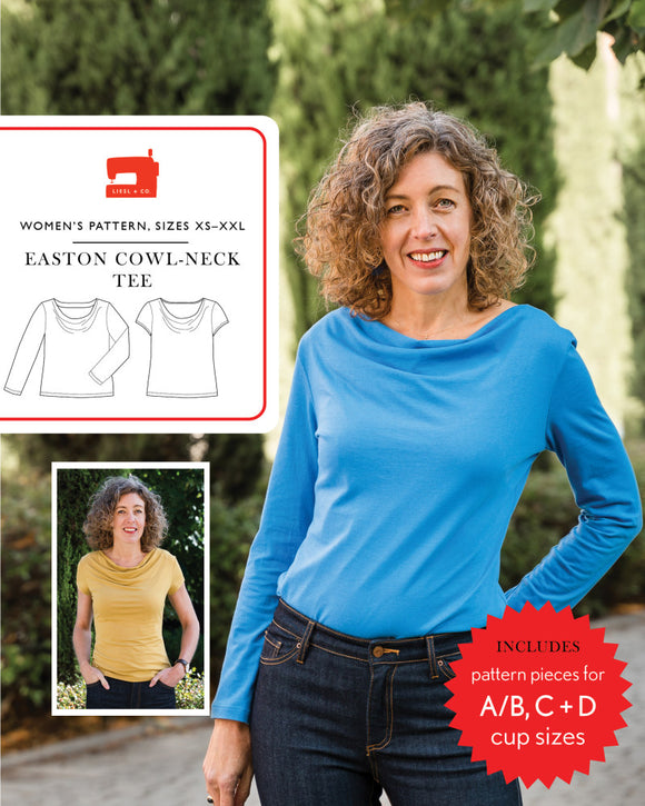 Easton Cowl Neck Tee Pattern by Liesl & Co