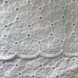 Scalloped Edge 100% Cotton Floral Broderie Anglais in White