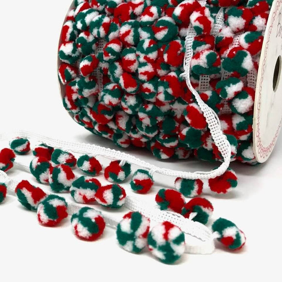 Pom Pom Trim 15mm Christmas Multi Colour