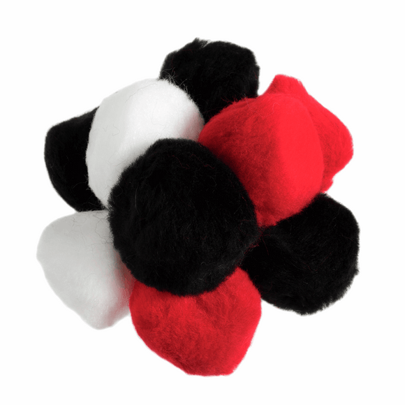 Pom Pom Pack Black, White, Red 2