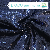 Sequinned Fabric in Navy