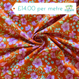 Hibiscus Hula Orange 100% Cotton