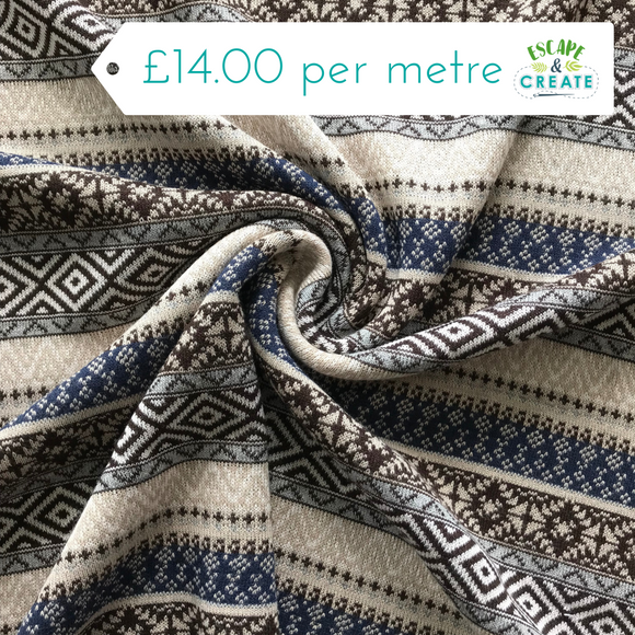 Now £11 p/m Blue, Brown and Beige Patterned Stripe Viscose Jersey