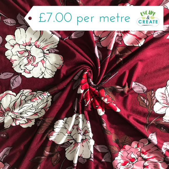 Jersey Large White/Pink Flowers on Wine Red (Viscose blend)