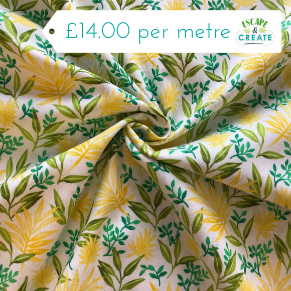 REMNANT Fronds Forever in Yellow 100% Cotton (110CM WIDE X 83CM)
