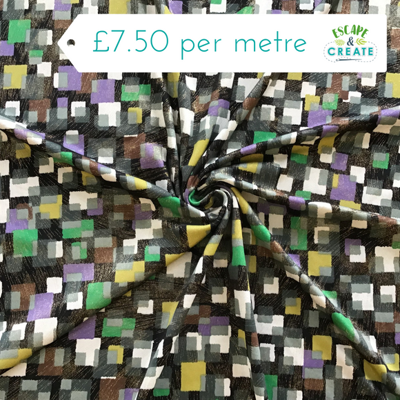 Jersey Foil Square in Green/Lilac/Ochre on Black