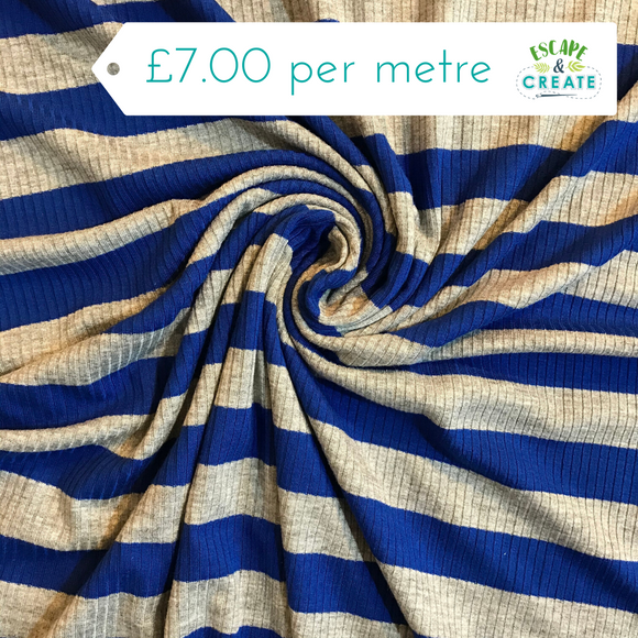 Ribbed Stripe Jersey in Royal Blue and Grey