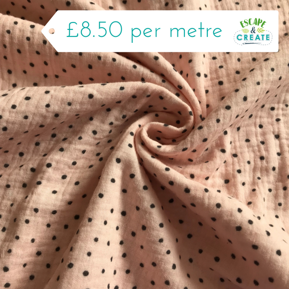 Double Gauze 100% Cotton Pink and Grey Spot