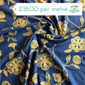 Chambray Gold Floral Embroidered (100% Cotton)