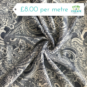 Paisley Floral Viscose in Denim Blue