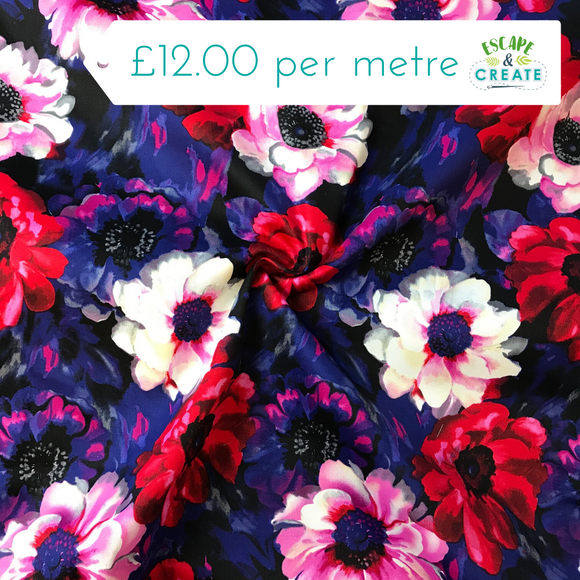 Purple and Red Floral Stretch Cotton Sateen