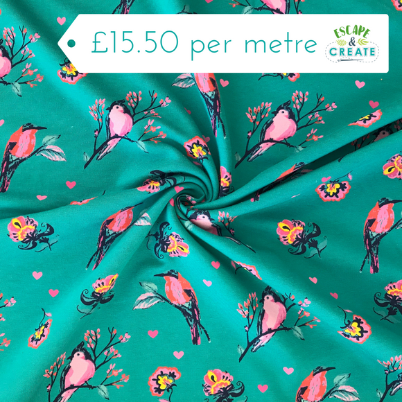 Pink Birds on Petrol Blue French Terry