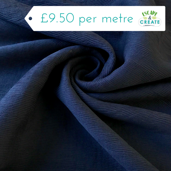 Textured Navy Viscose Blend