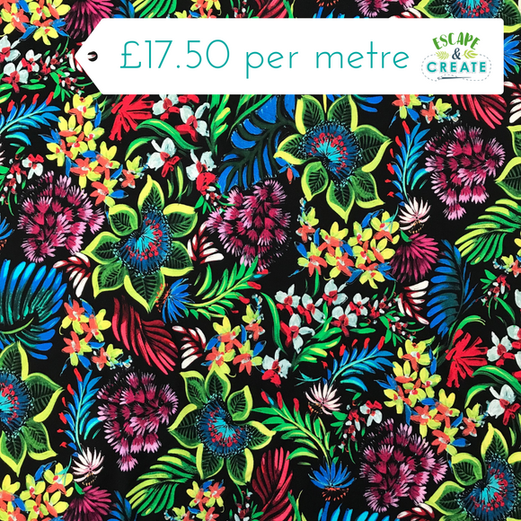 All the Colours Tropical Leaf Viscose Jersey