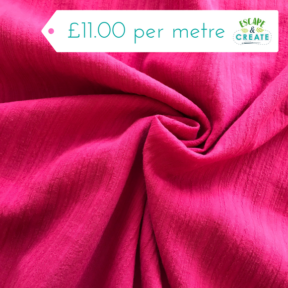 Textured 100% Cotton in Cerise Pink
