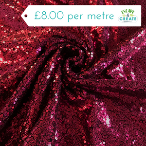 Sequinned Fabric in Cerise