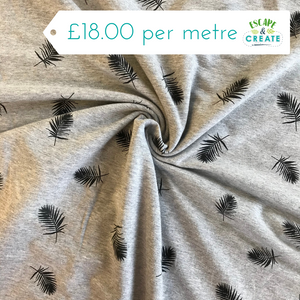 Now £13 p/m Black Palm Leaves on Grey French Terry