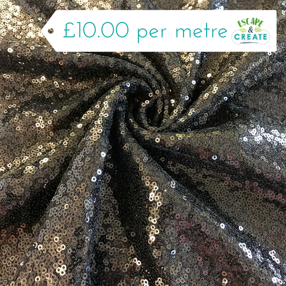 Sequinned Fabric in Black