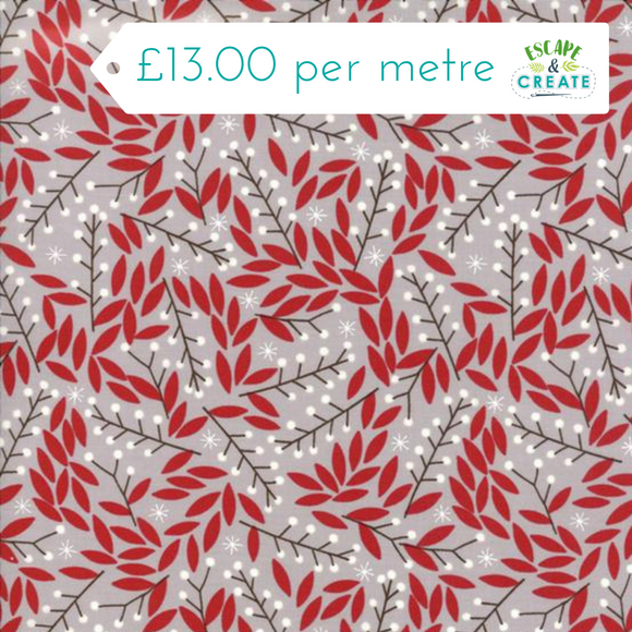 Now £10.40 p/m Moda Merriment Mistletoe on Grey