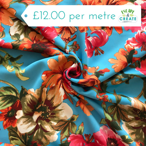 Turquoise and Orange Floral Crepe