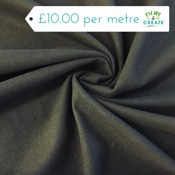 Black Brushed Stretch Poly-Viscose