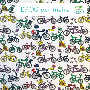 Bicycles on White Polycotton Canvas