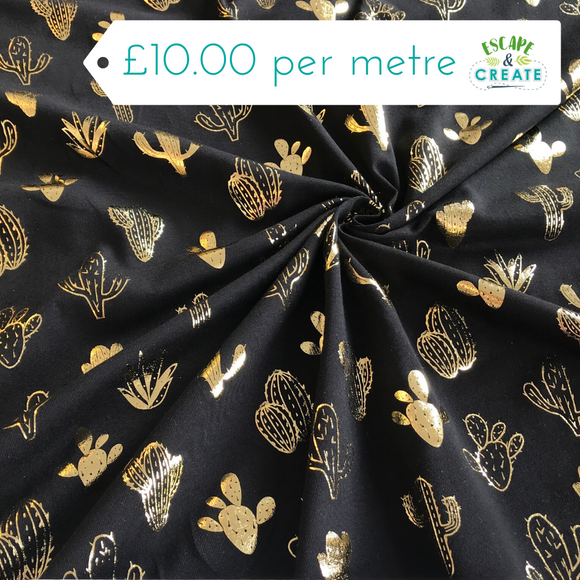 Jersey Cotton Cactus Foil (Gold on Black)