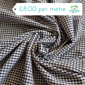 "Gingham 1/4"" 100% Cotton in Black (140cm wide)"