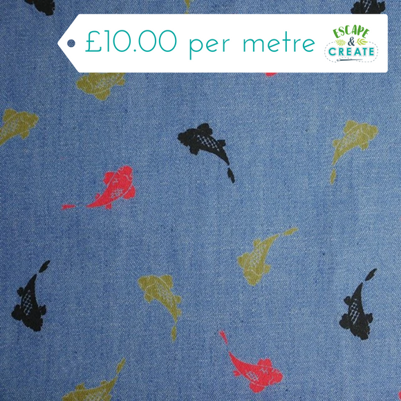 Chambray with Fishes 100% Cotton