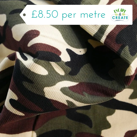 Camoflage Print Needlecord 100% Cotton
