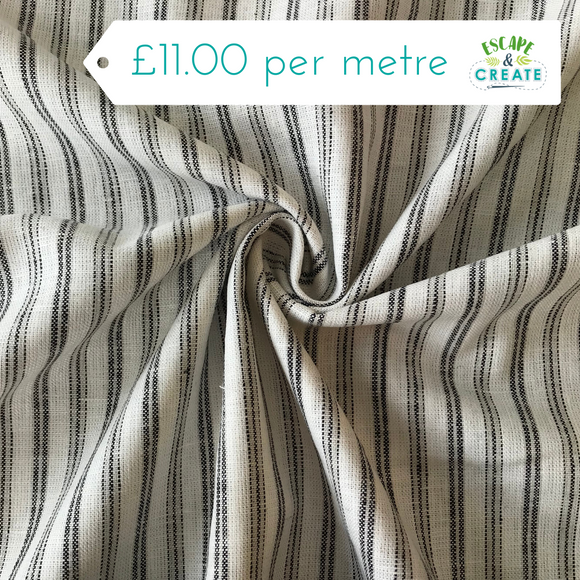 Grey and White Stripe Viscose Linen
