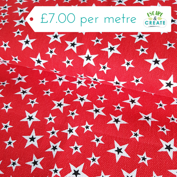 Polycotton Canvas Stars on Red