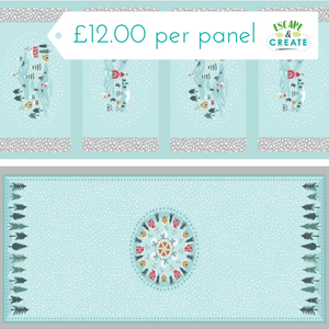 Panel by Lewis & Irene - Snowfall Table Runner & Mats on Blue (20)