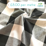 "Gingham in Oversized Black and White 3"" 100% Cotton"