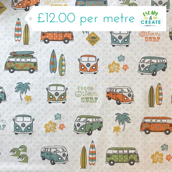 Camper Van Surf Scene on Cotton Canvas