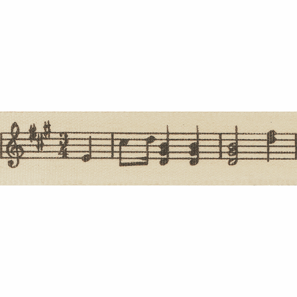 Ribbon 15mm Musical Notes on Natural
