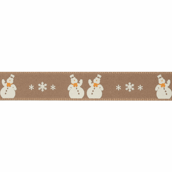 Ribbon 15mm Two Snowmen on Oatmeal