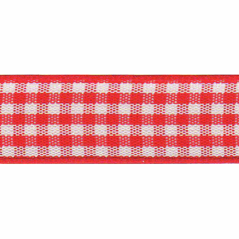 Ribbon Gingham 25mm Red