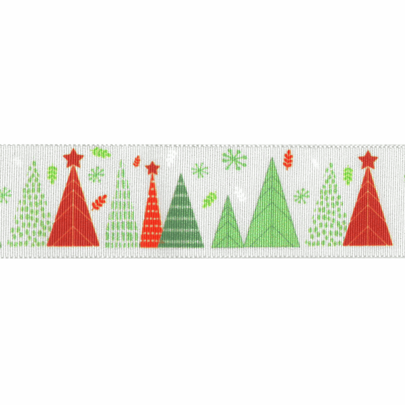 Ribbon 25mm Christmas Merry Trees