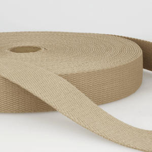 Cotton Webbing Tape 25mm in Taupe