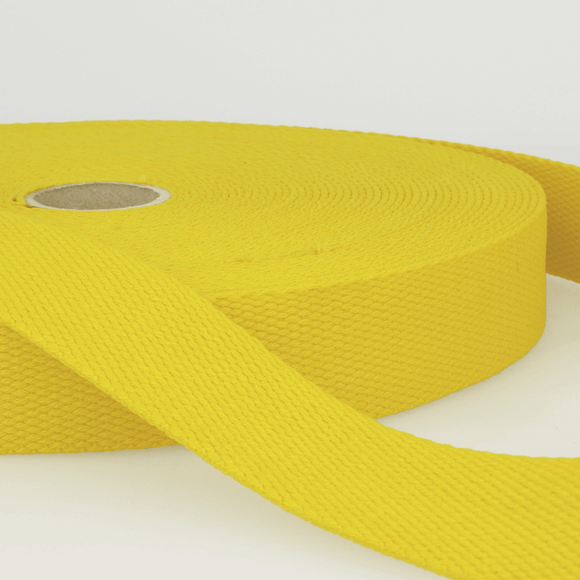 Cotton Webbing Tape 25mm in Yellow