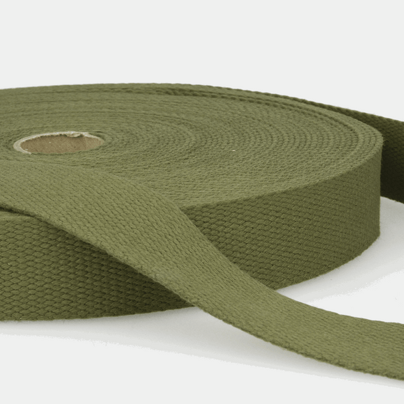 Cotton Webbing Tape 25mm in Khaki