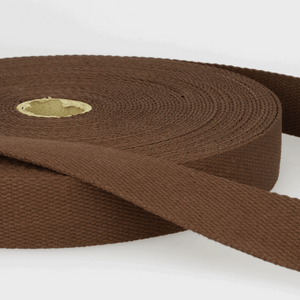 Cotton Webbing Tape 25mm in Dark Brown