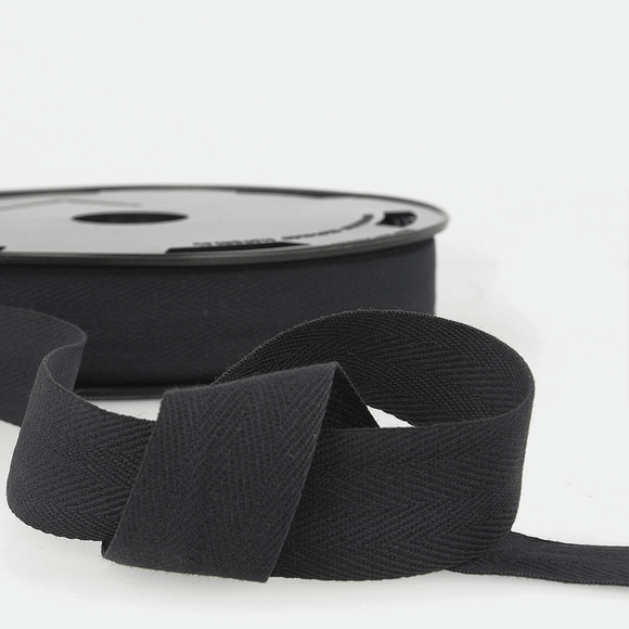 Twill Tape 100% Cotton 25mm Black