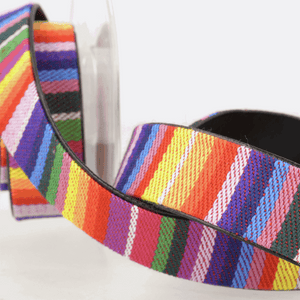 Faux Leather Lined Webbing Tape 25mm Multi Coloured