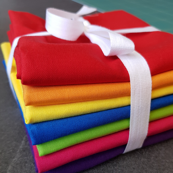 Fat Quarter Bundle - Primary Rainbow (7 pieces)