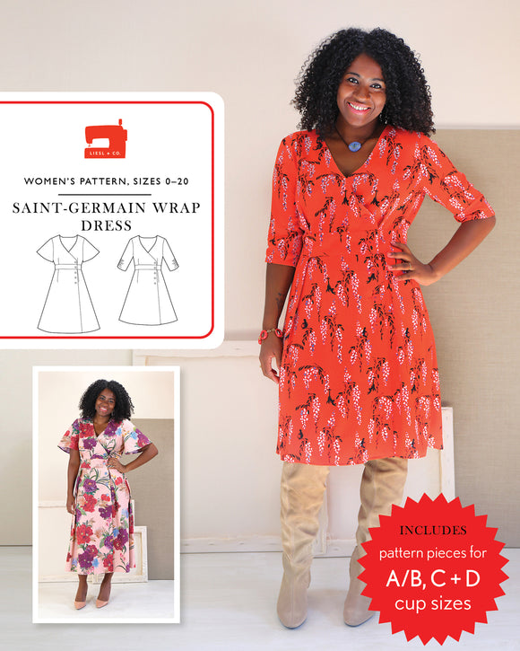 Saint Germain Wrap Dress Pattern by Liesl & Co