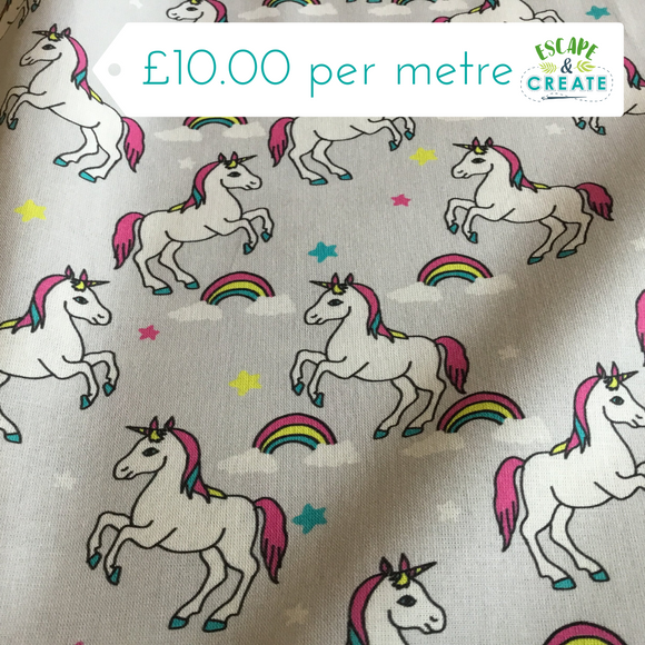 Cotton Poplin Unicorns & Rainbows on Grey