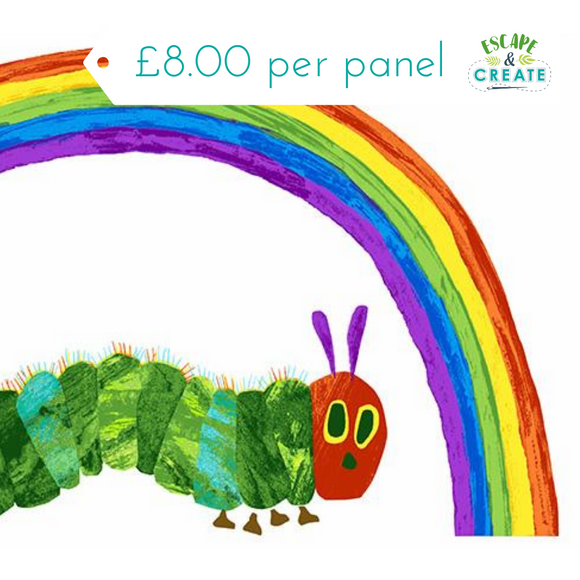 Panel Very Hungry Caterpillar by Makower Rainbow on White(32)