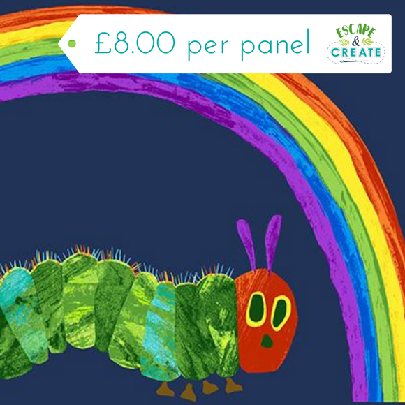 Panel Very Hungry Caterpillar by Makower Rainbow on Blue (33)